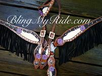Hand tooled and painted bling tack set with black fringe.
