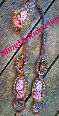 Hand tooled and painted rose headstall. With rose Copper OX hardware, s;eeping beauty turquoise and Patina'd spots.