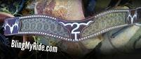 Hand tooled brand/initial genuine rattlesnake skin tripping collar. With Silver spots.